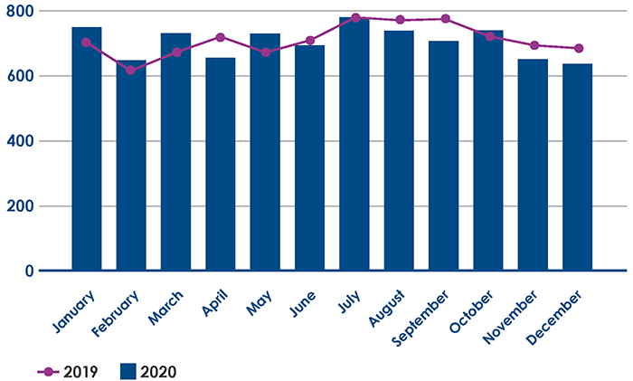 Number of births, Women's Hospital 2019–2020